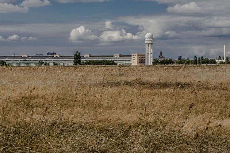 Radar tower at berlin tempelhof airport against sky