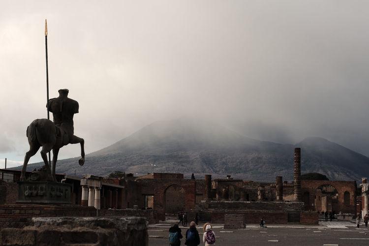 Snow coming in pompeii ruins