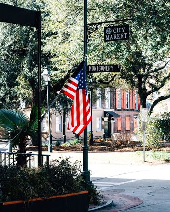City Market Savannah USAtrip USA Patriotism Flag Stars And Stripes Day No People Outdoors Tree Plant Built Structure Architecture Nature