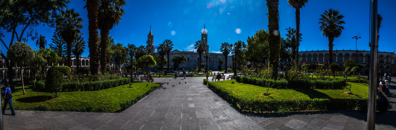 Arequipa Beautiful City Blue Sky Cathedral Panorama View Peru Plaza De Armas South America Sunny Day Travel Destinations Traveling