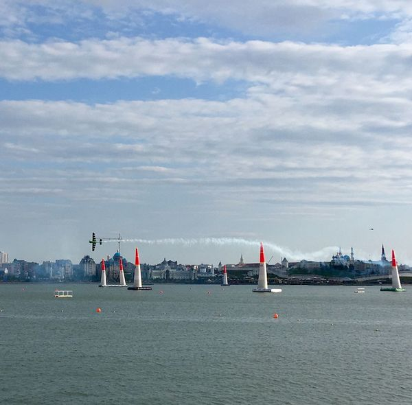 EyeEm Gallery Red Bull Air Race Airplane Airshow Airshowphotography Redbull Air Race 2018 Cloud - Sky Sky Group Of People Water Sea Nautical Vessel Nature Outdoors