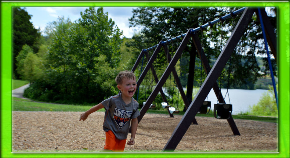 Boys Caryville Tennessee Casual Clothing Childhood Cove Lake State Park Cute Day Enjoyment Fun Grass Lake Outdoors Park Park - Man Made Space Playful Playground Playing Running Summer 2016 Sunlight Swing Tree