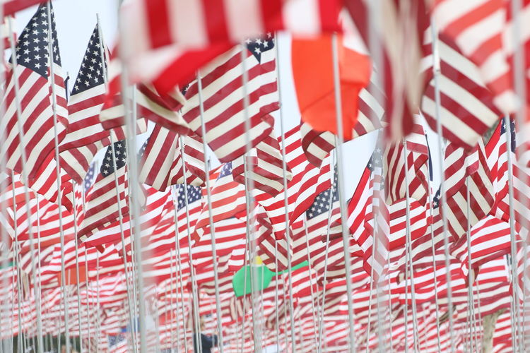 Full Frame Shot Of Minature American Flags