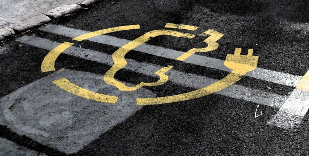 High angle view of car symbol on street