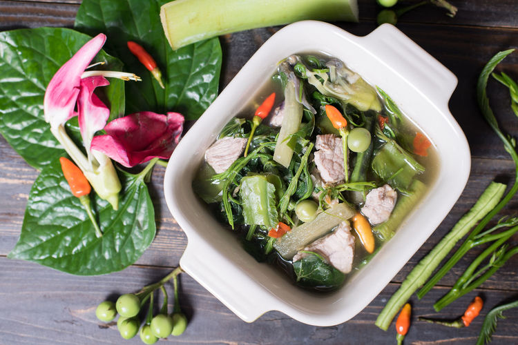 Northern Thai food Cuisine Homemade Food Lunch Meal Spicy Bowl Close-up Day Food Food And Drink Freshness Gourmet Green Color Healthy Eating High Angle View Indoors  Ingredient No People Northern Thai Food Nutrition Ready-to-eat Soup Thai Food Top View Of Food Vegetable