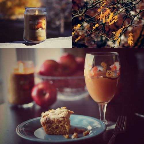 autumn breakfast collage Cider Breakfast Cake Candle Cozy No People Sweet Food Close-up Food Drinking Glass Ready-to-eat Morning Comfortfood Selective Focus Fall Beauty