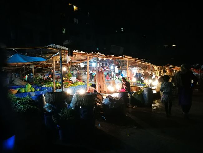 Night Crowd People Local Market