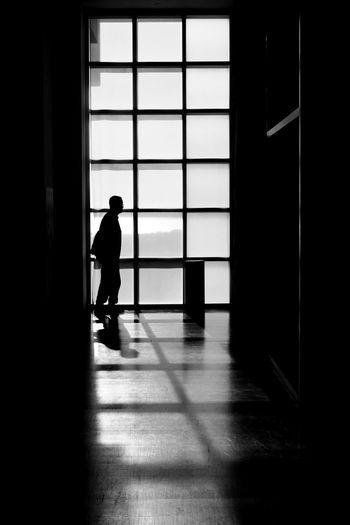Rear view of silhouette man walking in building