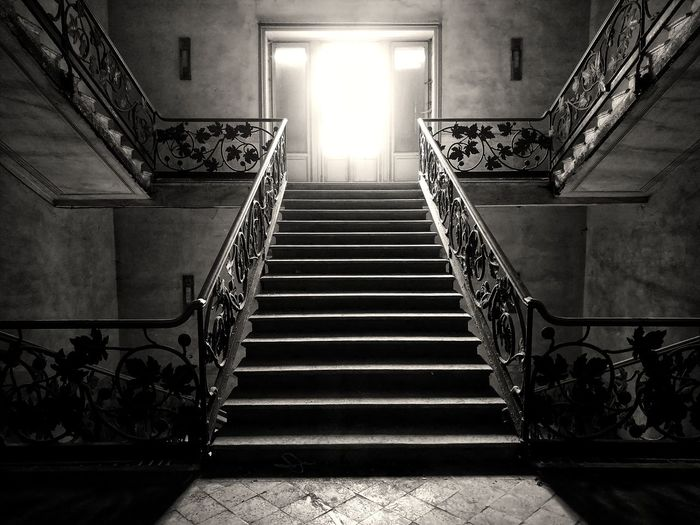 Steps And Staircases Staircase Steps Stairs Architecture Stairway Indoors  Built Structure Hand Rail Low Angle View No People Illuminated Day Belleepoque Liberty Europe Italy Nice Ghost Sanpellegrinoterme