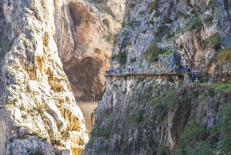 Visitors walking along the footbridge of Caminito del Rey path, Malaga, Spain Beauty In Nature Bridge - Man Made Structure Connection Day Hydroelectric Power Nature No People Outdoors River Rock - Object Travel Destinations Tree Water