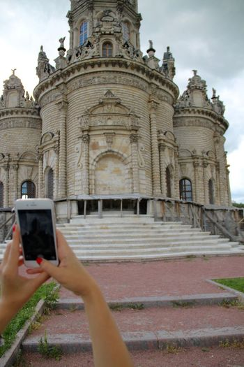 Architecture Building Exterior Built Structure Church Dubrovitsi Façade Famous Place In Front Of In My Hand Outdoors Photographer Place Of Worship Russia Smartphone Taking Photos Taking Pictures Tech Technology Tourism Internet Addiction