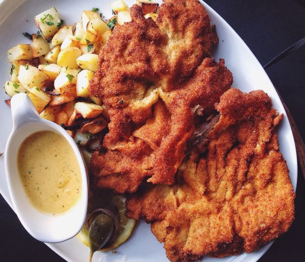 Best Schnitzel ever!!!! Schnitzel Food Food Art Food And Drink Germany German Cusine Cusine German Food A Taste Of Life Fried Food Food From Above Delicious Tasty Meal Mealtime The Shop Around The Corner My World Of Food A Bird's Eye View