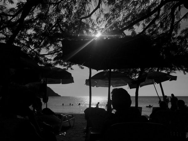 IPhone IPhoneography Blackandwhite Caribbean Tropical Backlight Sea Real People Group Of People Tree Nature Sky Water Plant Silhouette Sunlight Leisure Activity Sun Beach Outdoors Lifestyles