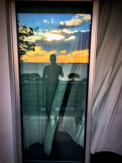 Reflex Riverside View Landscape Sunset Transportation Reflection Men Looking Through Window Journey Day