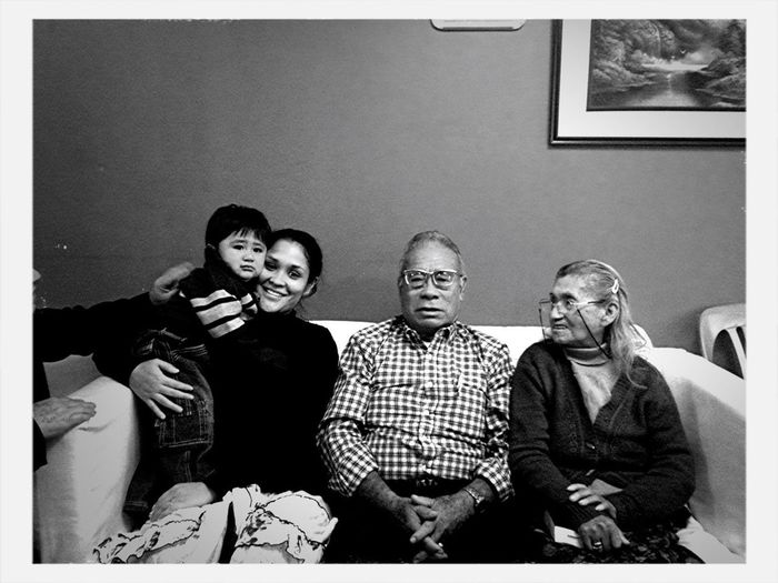 Mateo With His Great Grandparents
