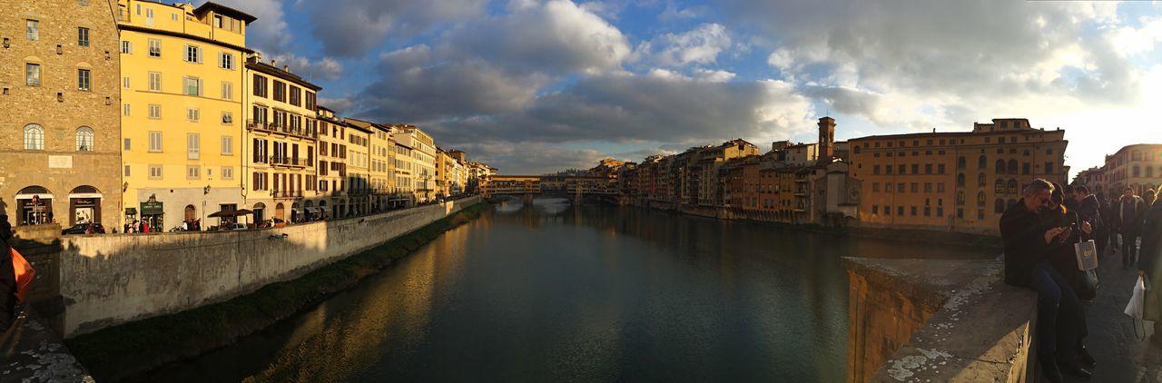 Italy Florenz Bridge Panorama River Arno Riverside Sundown Sundown Landscape Beautiful Day Beautiful Places Firenze Ponte Vecchio