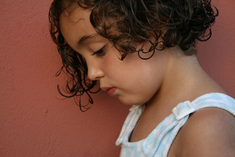 Close-up of girl looking down