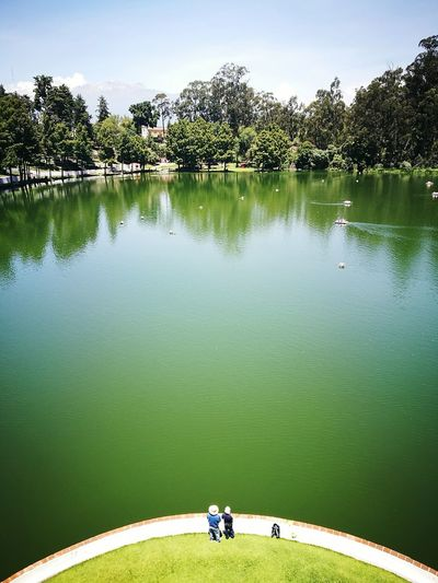Water Lake High Angle View Tranquility Outdoors Cityscape Chautla