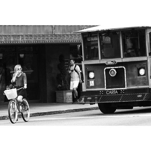 Can you hear me now?! Mobility Mobilephones Impendingdisaster Cycling streetphotography Charleston bw_worldwide BW blackandwhite roadrage noleftturn instagramdaily instagramhub