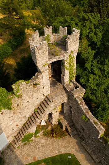 Day High Angle View No People Outdoors Tree Sunlight Nature Close-up Varenna Italy Lake Como Lecco Vezio  Castle Tourism Battlements Tower Medieval Armor Forest High Wood Secluded