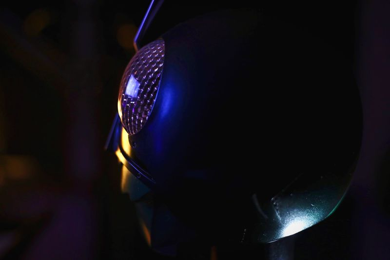 Maskrider EyeEmNewHere EyeEm Best Shots Lowkey  Close-up darkness and light HERO Bighead HEAD Headshot Kamenrider Maskrider Indoors  Close-up Technology Lighting Equipment No People Illuminated Night Still Life Arts Culture And Entertainment Mask Dark Selective Focus Light Focus On Foreground