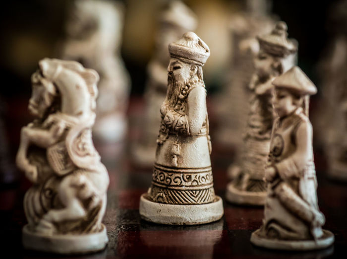 Close-Up Of Figurines On Chess Board