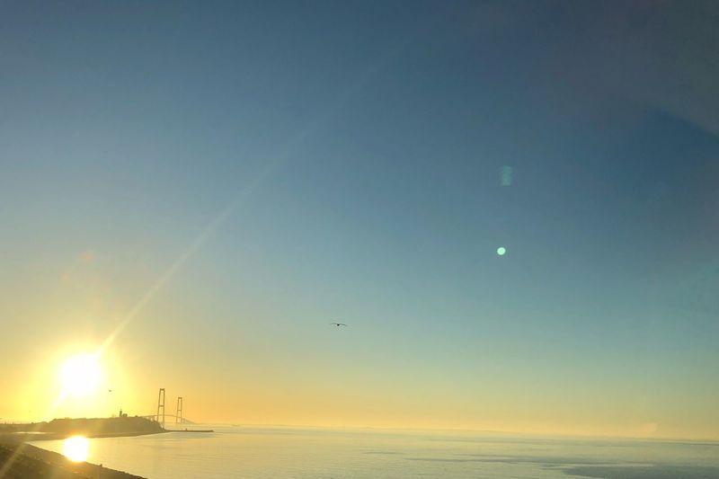 Danmark Sunrise Storebeltsbroen Bridge Water Sky Sea Scenics - Nature Sunset Horizon Over Water Horizon