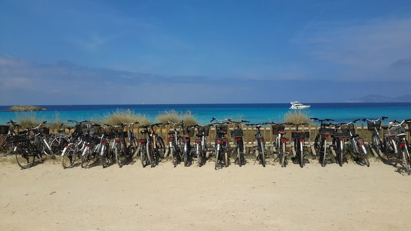 Seascape Tourquise Sea Bycicle Parking Formentera Wonderful Nature