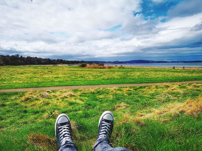 Low Section Rural Scene Shoe Agriculture Human Leg Sky Cloud - Sky Landscape Horizon Over Water