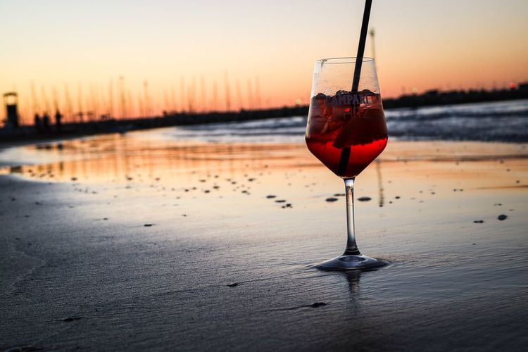 Campari Sunset Summer Beach Sea And Sky Relaxing EyeEm Best Shots Taking Photos