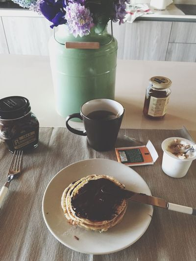 Happy Breakfast ✌🏼️ Check This Out Follow #f4f #followme #TagsForLikes #TFLers #followforfollow #follow4follow #teamfollowback #followher #followbackteam #followh Relaxing Breakfast Pancakes Taking Photos Photography Picoftheday Photooftheday