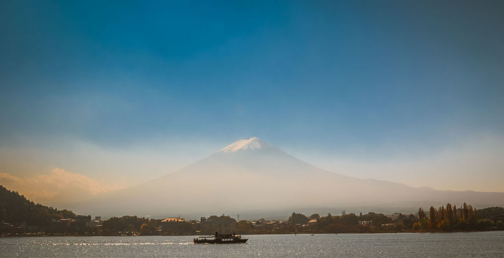 Scenic View Of Mt Fuji By Lake Against Sky