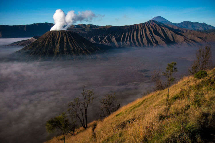Smoke emitting from bromo mountain