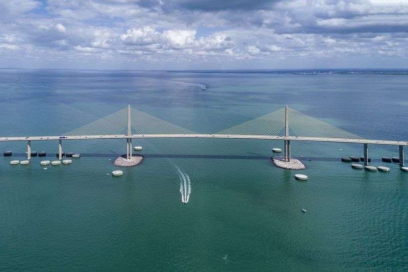 Sea Cloud - Sky Transportation Connection Sky Water Bridge - Man Made Structure Outdoors Day No People Suspension Bridge Horizon Over Water Scenics Nautical Vessel Nature Travel Destinations Beauty In Nature Architecture