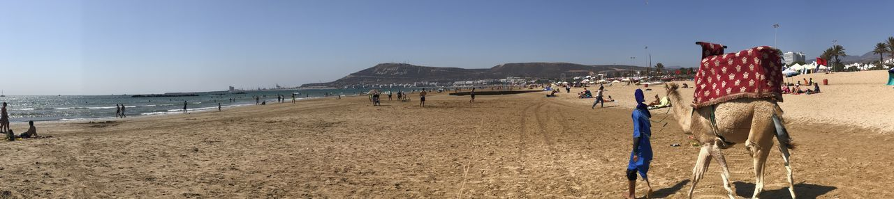 Panoramic view of people on beach against clear sky