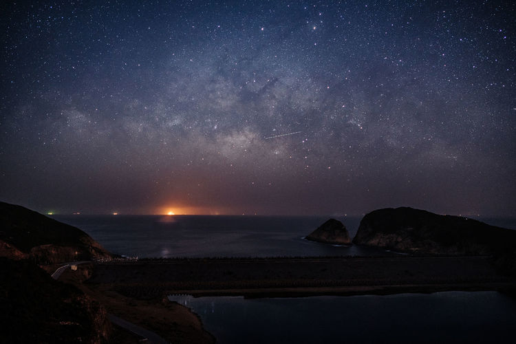 Milky way above the reservoir dam Astronomy Beauty In Nature Galaxy Landscape Milky Way Mountain Nature Night No People Outdoors Scenics Sky Star - Space Travel Destinations