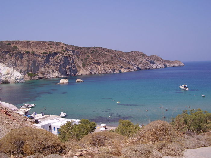 Milos, Greece Milos Island Beach Beauty In Nature Blue Clear Sky Cliff Day Greece Milos Mountain Nature Nautical Vessel No People Outdoors Rock - Object Rock Formation Sand Scenics Sea Sky Tranquil Scene Tranquility Water