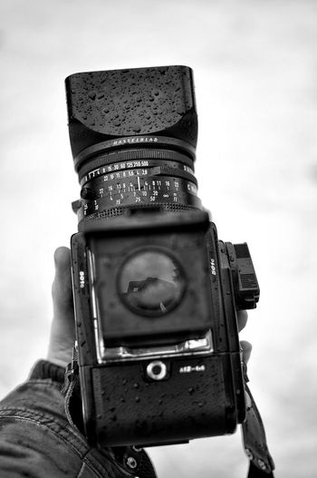 Hasselblad 🖤 Hasselblad Photography Blackandwhite Snow Winter Close-up Focus On Foreground Point Of View Adult Photography Themes Outdoors One Person Only Men Adults Only One Man Only Close-up Sky Digital Single-lens Reflex Camera Day