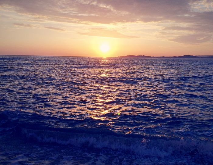 Sunset at Mediterranean  Sea Horizon Over Water Beauty In Nature Tranquility Nature Idyllic No People