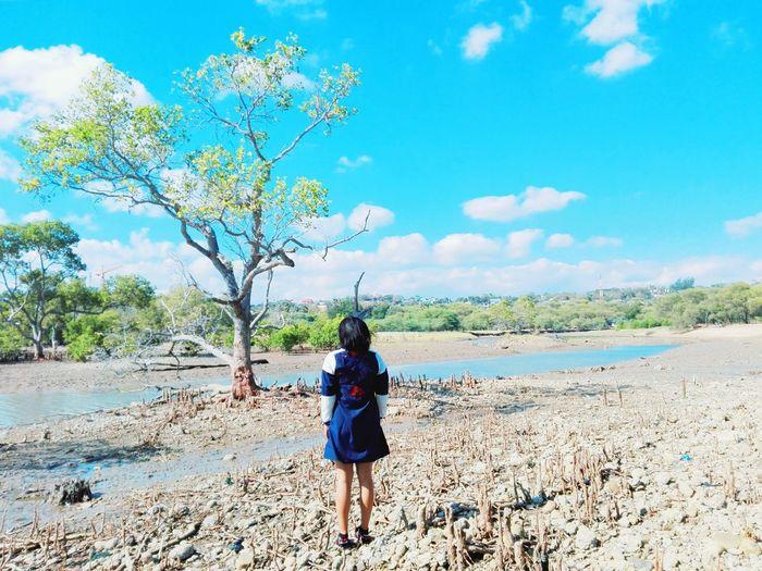 Tree Full Length Women Sand Beach Rear View Walking Young Women Sky Landscape