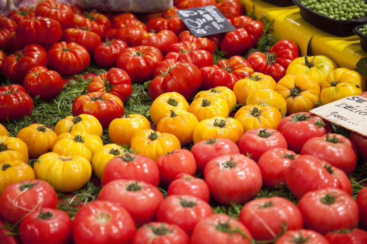 Abundance Bell Pepper Choice Consumerism Food Food And Drink For Sale Freshness Fruit Healthy Eating Large Group Of Objects Market Market Stall No People Organic Pepper Red Retail  Retail Display Sale Tomato Variation Vegetable Wellbeing Yellow