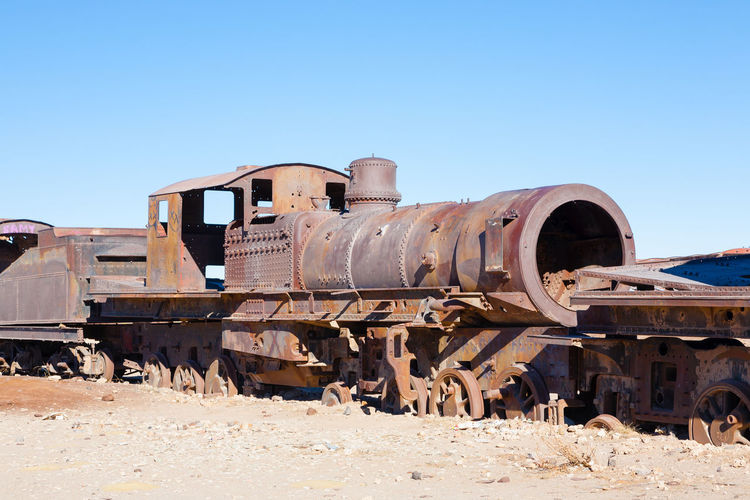 Old train against clear sky