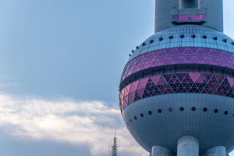 Architecture Blue Building Building Exterior Built Structure City Day Dome Global Communications Low Angle View Modern Nature No People Office Building Exterior Oriental Pearl Tower Outdoors Purple Sky Skyscraper Sphere Tourism Tower Tower Dome Travel Travel Destinations