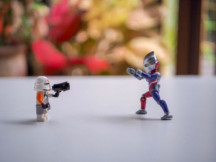 Close-up of robots on table