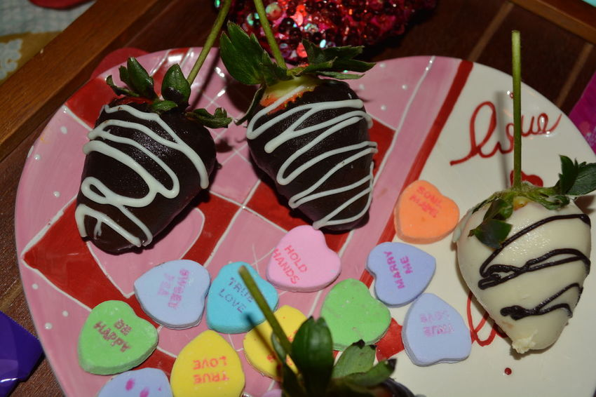 Chocolate Strawberries Candy Hearts Valentines Day Plate Food Close-up Freshness Fruit Indoors