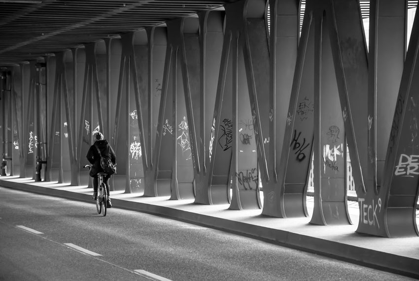 zickzack... 8ung Hamburg Bike Black And White Photography Blackandwhite Bridge Cycle Eye4photography  Fortheloveofblackandwhite Full Length Geometry Hamburg Light And Shadow Oberhafenbrücke Open Edit People People Photography Rear View Schwarzweiß Street Streetphoto_bw Streetphotography Symmetry The Way Forward Urban Geometry Woman