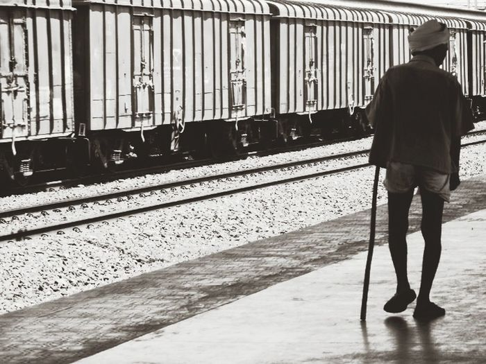 At Station Taking Photos Monochrome Black & White Beauty  Train The Old Man Indian Man