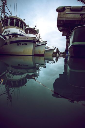 Nautical Vessel Mode Of Transport Transportation Reflection Water Sky Moored Outdoors Waterfront No People Day Nature Mast Yacht Valdez Harbor Alaska Prince William Sound, AK