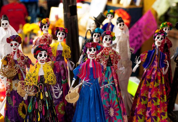 Multi colored figurines in market for sale