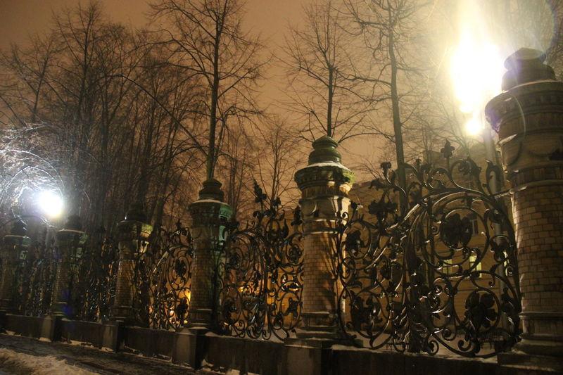 Gate Saint Petersburg Illuminated In A Row Lamp Lighting Equipment No People Sky Street Light Tree ворота туман